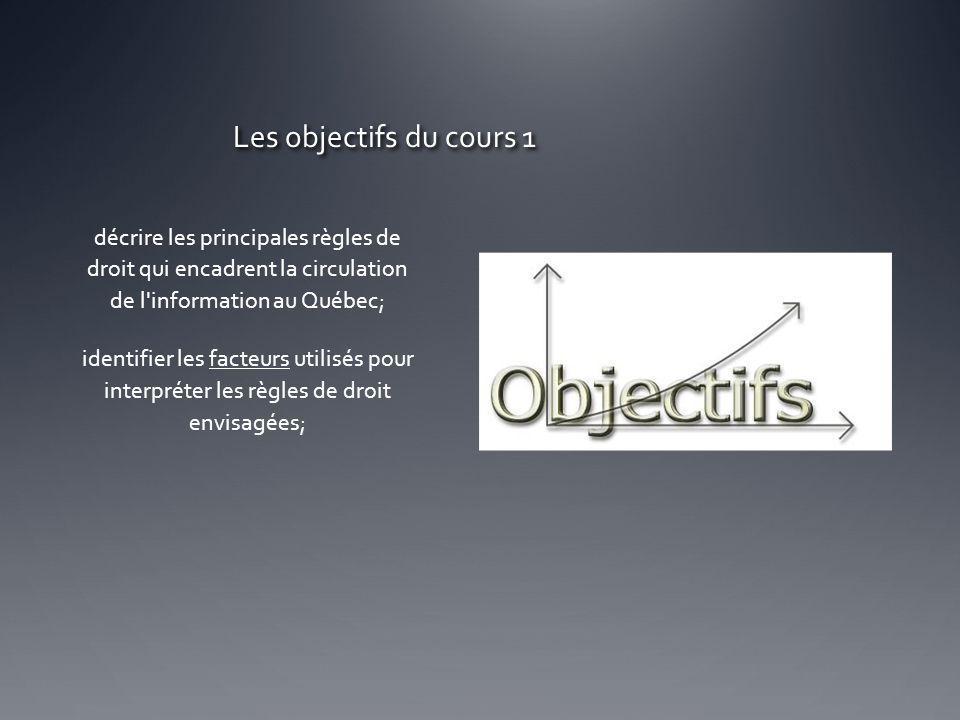 Les objectifs du cours 1 décrire les principales règles de droit qui encadrent la circulation de l'information au Québec; identifier les facteurs util
