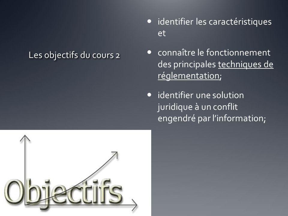Les objectifs du cours 2 identifier les caractéristiques et connaître le fonctionnement des principales techniques de réglementation; identifier une s