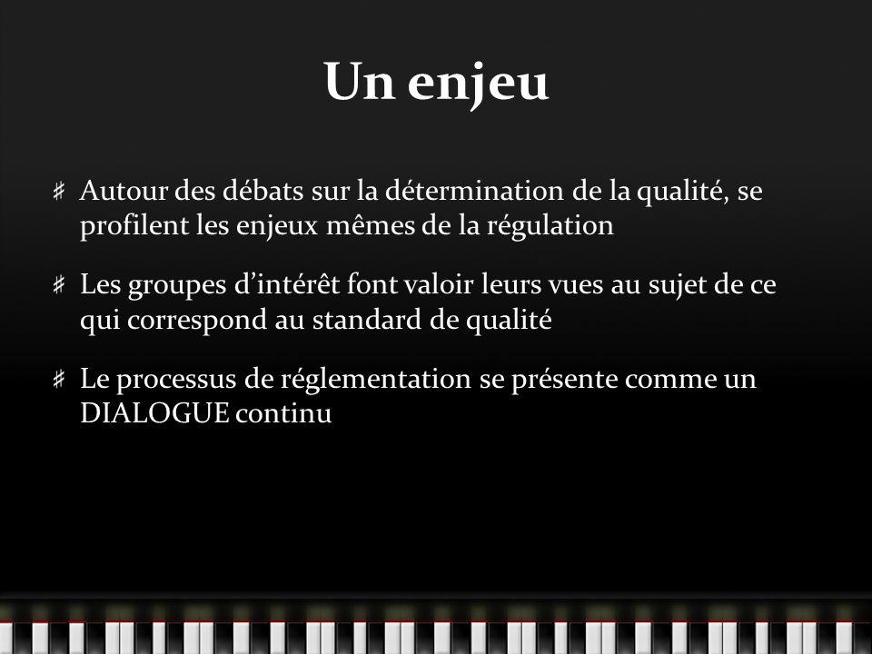 Comme notion juridique La « haute qualité… Sinscrit dans le système de régulation Emporte des droits et des obligations Se présente comme un standard à partir duquel se définit la conduite acceptable