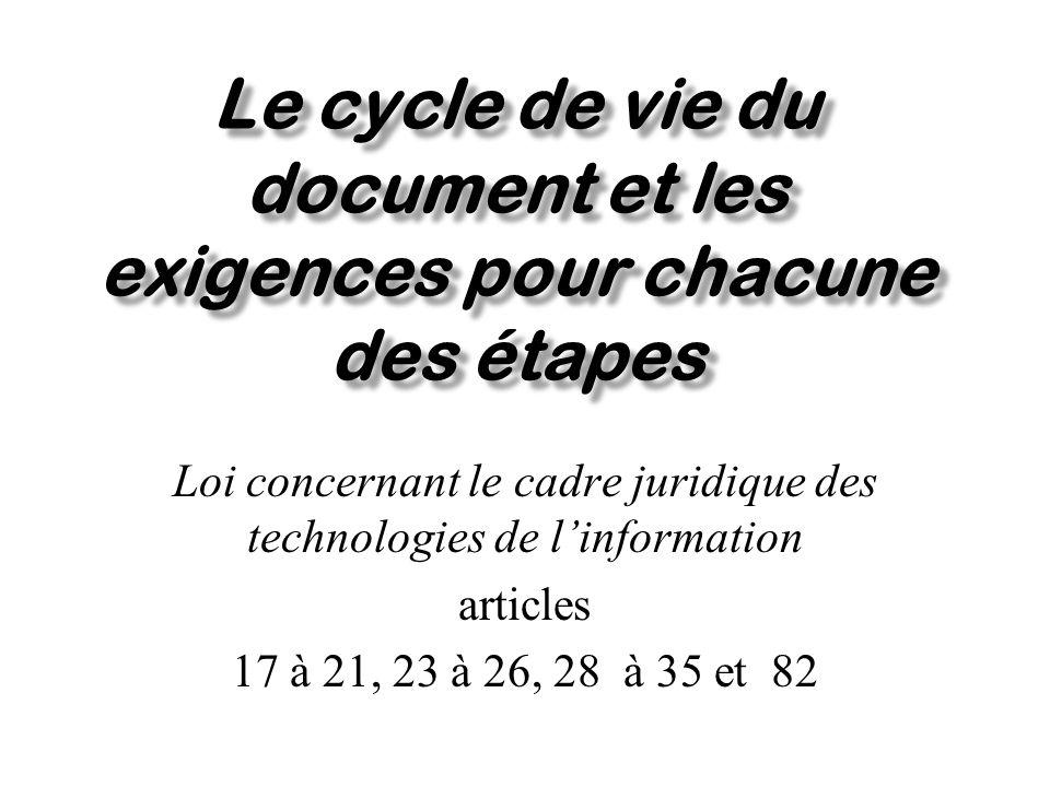 Le cycle de vie du document la création la modification le transfert de linformation la consultation la transmission la conservation larchivage ou destruction