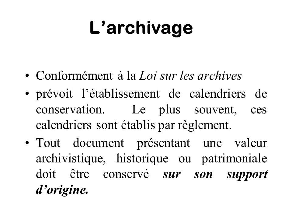 Larchivage Conformément à la Loi sur les archives prévoit létablissement de calendriers de conservation. Le plus souvent, ces calendriers sont établis