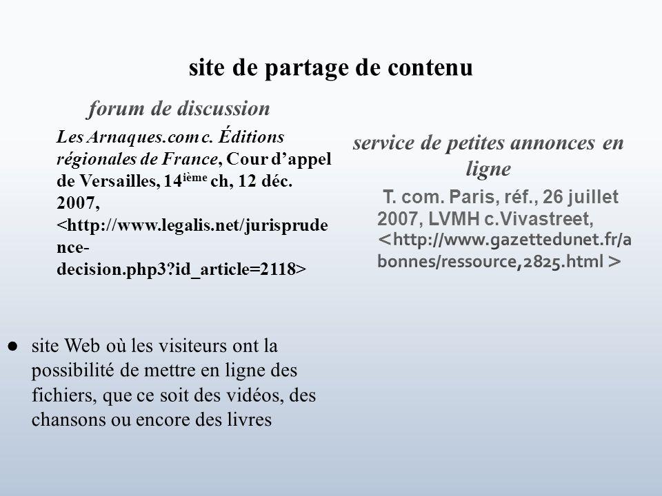 service de petites annonces en ligne T. com. Paris, réf., 26 juillet 2007, LVMH c.Vivastreet,