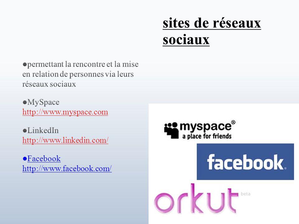permettant la rencontre et la mise en relation de personnes via leurs réseaux sociaux MySpace http://www.myspace.com http://www.myspace.com LinkedIn http://www.linkedin.com/ http://www.linkedin.com/ Facebook http://www.facebook.com/