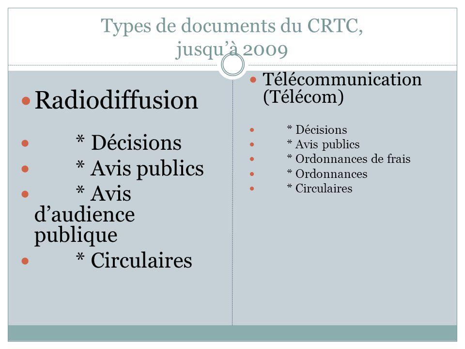 Types de documents du CRTC, jusquà 2009 Radiodiffusion * Décisions * Avis publics * Avis daudience publique * Circulaires Télécommunication (Télécom) * Décisions * Avis publics * Ordonnances de frais * Ordonnances * Circulaires