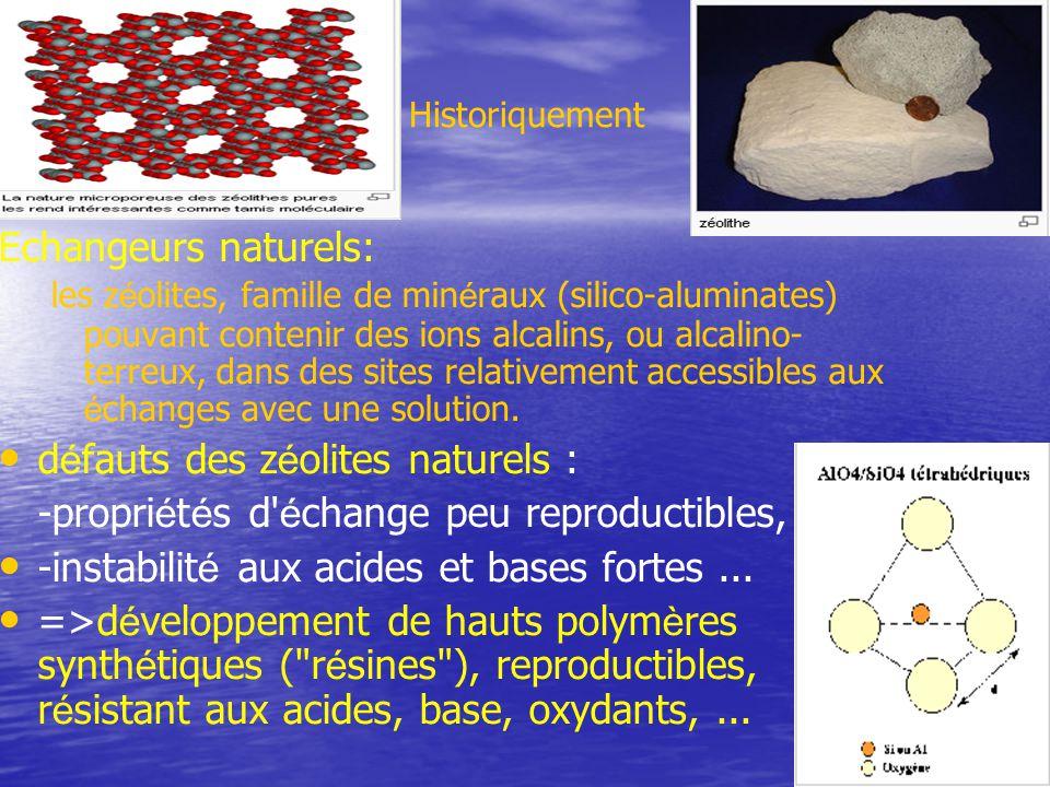 Historiquement Echangeurs naturels: les z é olites, famille de min é raux (silico-aluminates) pouvant contenir des ions alcalins, ou alcalino- terreux, dans des sites relativement accessibles aux é changes avec une solution.