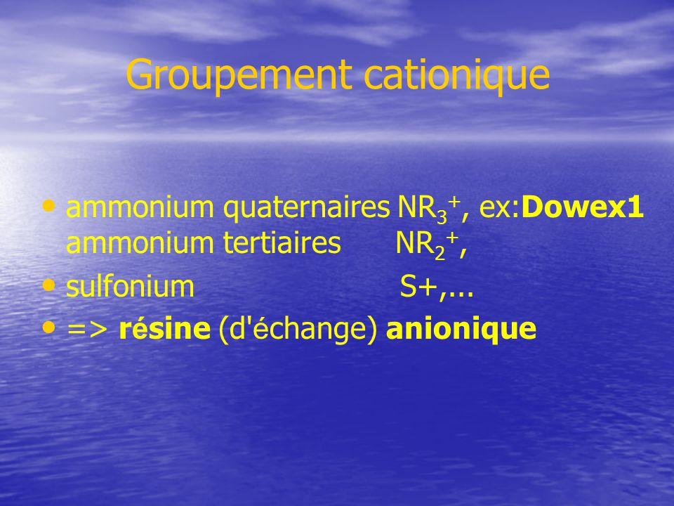 Groupement cationique ammonium quaternaires NR 3 +, ex:Dowex1 ammonium tertiaires NR 2 +, sulfonium S+,...