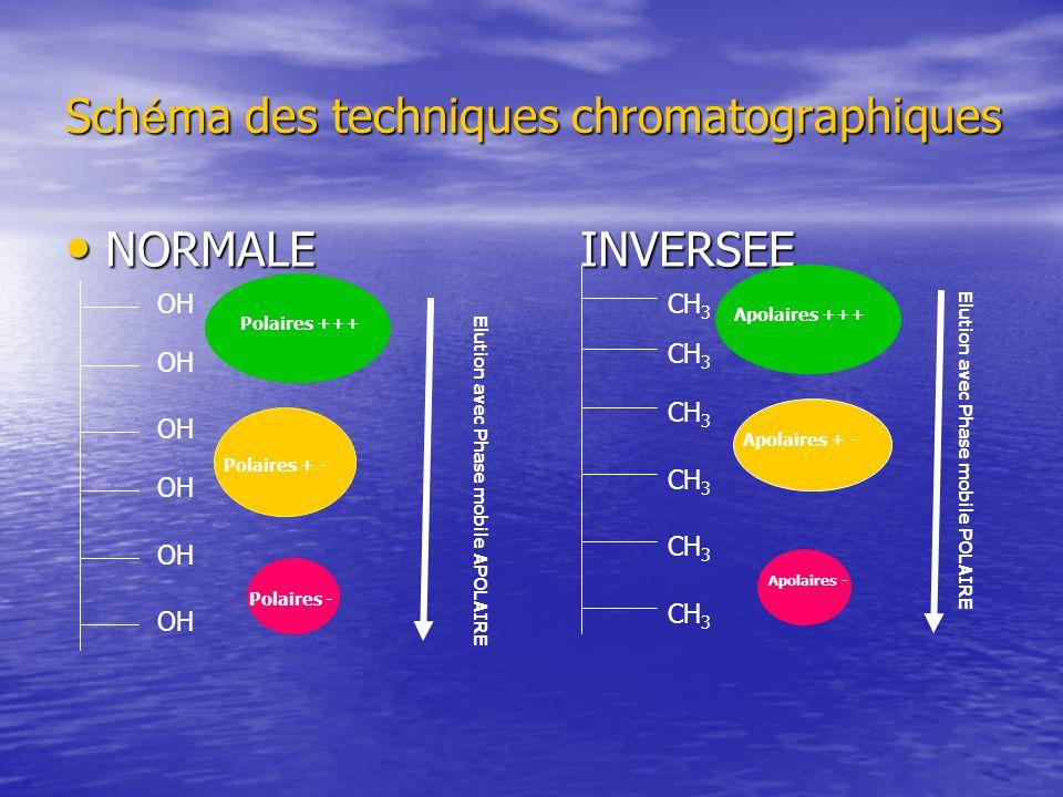 Sch é ma des techniques chromatographiques NORMALE INVERSEE NORMALE INVERSEE OH CH 3 Polaires +++ Polaires + - Polaires - Elution avec Phase mobile APOLAIRE Elution avec Phase mobile POLAIRE Apolaires +++ Apolaires + - Apolaires -