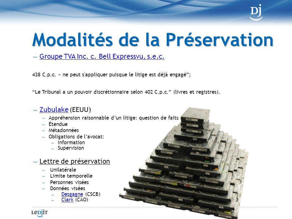 Modalités de la Préservation Groupe TVA Inc. c. Bell Expressvu, s.e.c.