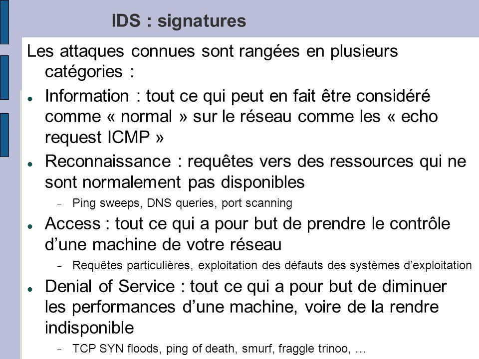 RE1613 IDS : signatures Les attaques connues sont rangées en plusieurs catégories : Information : tout ce qui peut en fait être considéré comme « normal » sur le réseau comme les « echo request ICMP » Reconnaissance : requêtes vers des ressources qui ne sont normalement pas disponibles Ping sweeps, DNS queries, port scanning Access : tout ce qui a pour but de prendre le contrôle dune machine de votre réseau Requêtes particulières, exploitation des défauts des systèmes dexploitation Denial of Service : tout ce qui a pour but de diminuer les performances dune machine, voire de la rendre indisponible TCP SYN floods, ping of death, smurf, fraggle trinoo, …