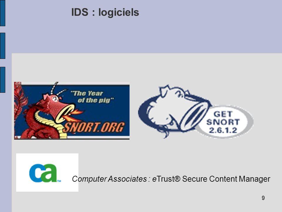 9 IDS : logiciels Computer Associates : eTrust® Secure Content Manager