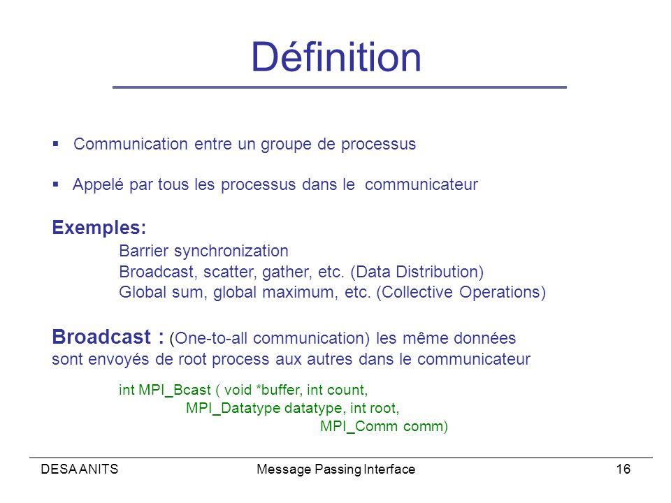 DESA ANITSMessage Passing Interface16 Définition Communication entre un groupe de processus Appelé par tous les processus dans le communicateur Exemples: Barrier synchronization Broadcast, scatter, gather, etc.