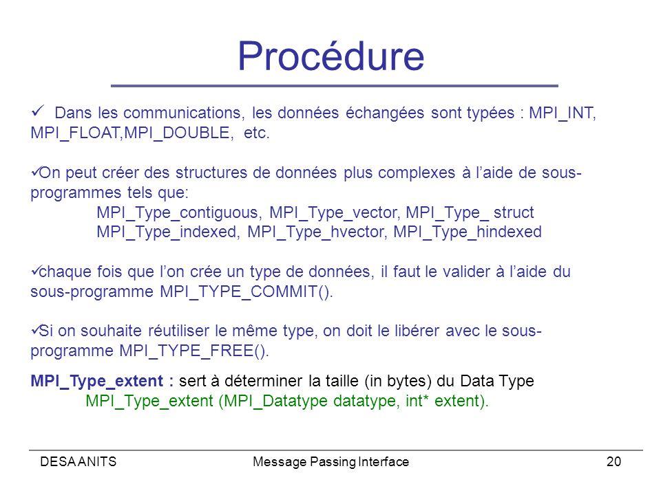 DESA ANITSMessage Passing Interface20 Procédure Dans les communications, les données échangées sont typées : MPI_INT, MPI_FLOAT,MPI_DOUBLE, etc.