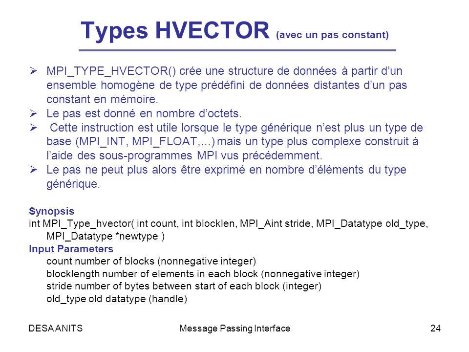DESA ANITSMessage Passing Interface24 Types HVECTOR (avec un pas constant) MPI_TYPE_HVECTOR() crée une structure de données à partir dun ensemble homogène de type prédéfini de données distantes dun pas constant en mémoire.