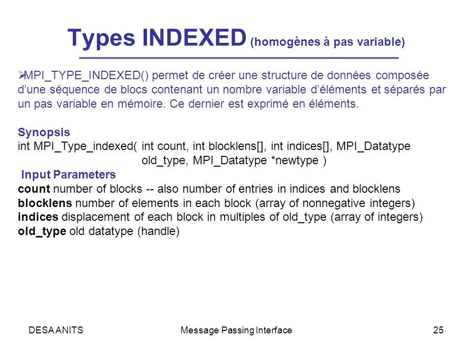 DESA ANITSMessage Passing Interface25 Types INDEXED (homogènes à pas variable) MPI_TYPE_INDEXED() permet de créer une structure de données composée dune séquence de blocs contenant un nombre variable déléments et séparés par un pas variable en mémoire.
