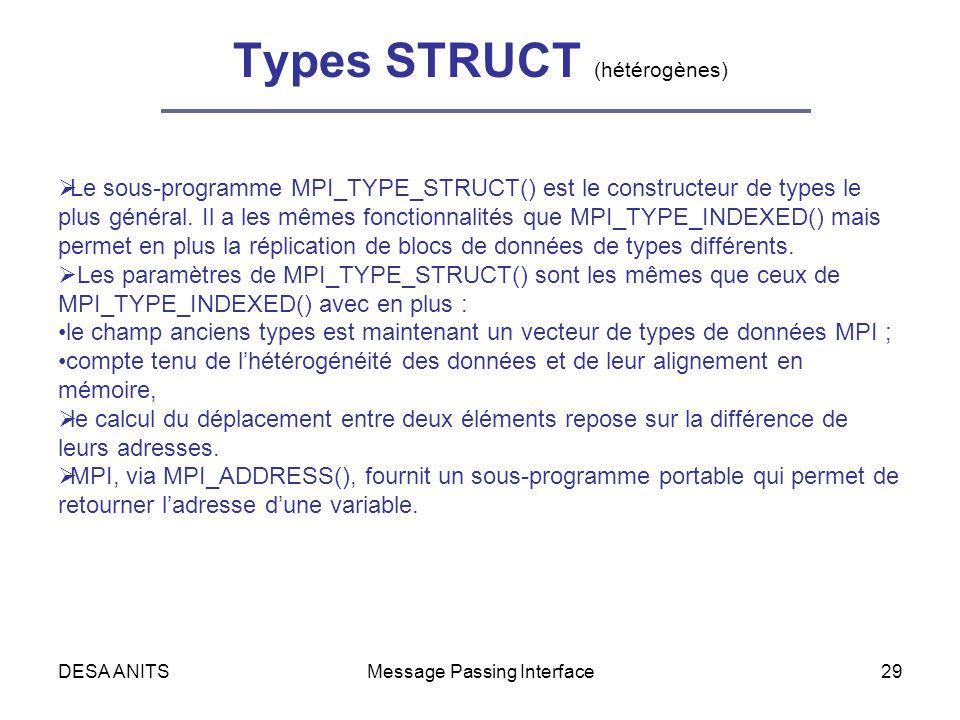 DESA ANITSMessage Passing Interface29 Types STRUCT (hétérogènes) Le sous-programme MPI_TYPE_STRUCT() est le constructeur de types le plus général.