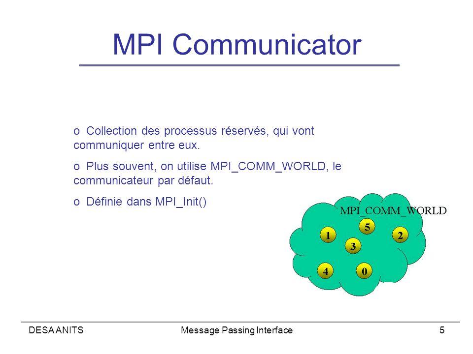 DESA ANITSMessage Passing Interface5 MPI Communicator o Collection des processus réservés, qui vont communiquer entre eux.