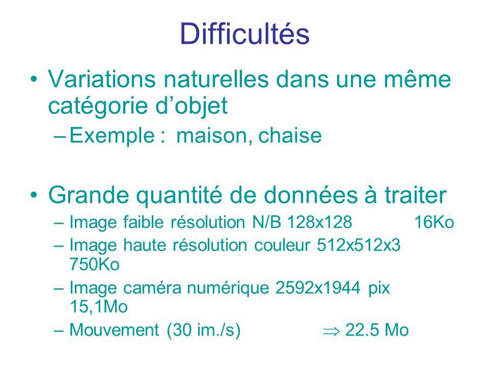 Difficultés Variations naturelles dans une même catégorie dobjet –Exemple :maison, chaise Grande quantité de données à traiter –Image faible résolutio