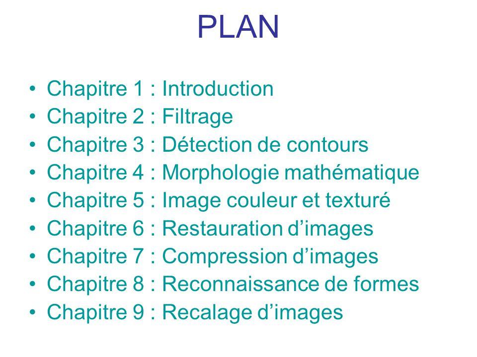 PLAN Chapitre 1 : Introduction Chapitre 2 : Filtrage Chapitre 3 : Détection de contours Chapitre 4 : Morphologie mathématique Chapitre 5 : Image coule