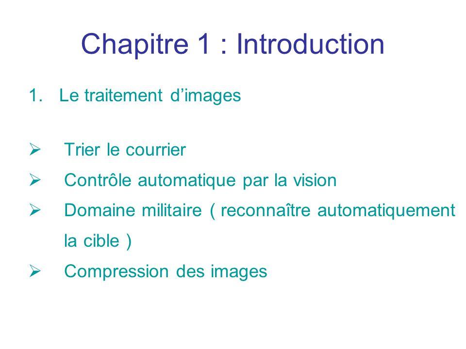 Chapitre 1 : Introduction 1.Le traitement dimages Trier le courrier Contrôle automatique par la vision Domaine militaire ( reconnaître automatiquement la cible ) Compression des images