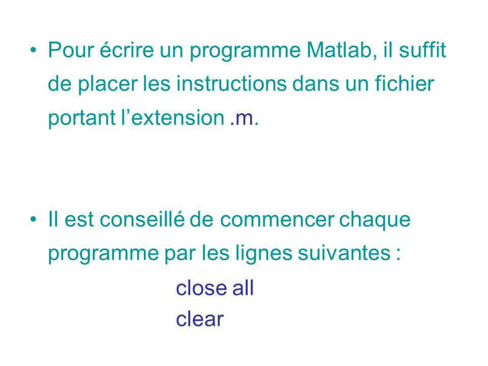 Pour écrire un programme Matlab, il suffit de placer les instructions dans un fichier portant lextension.m. Il est conseillé de commencer chaque progr