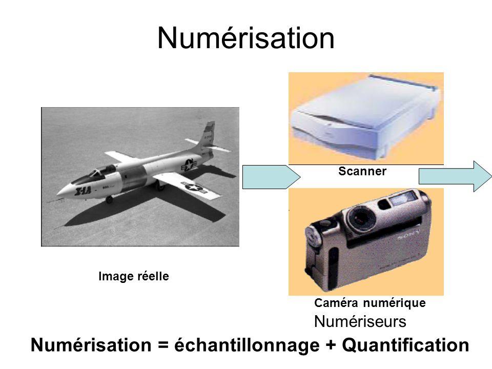 Numérisation Scanner Caméra numérique Image réelle Numérisation = échantillonnage + Quantification Numériseurs