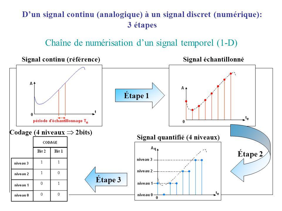 Dun signal continu (analogique) à un signal discret (numérique): 3 étapes Chaîne de numérisation dun signal temporel (1-D) Signal continu (référence) Étape 1 Signal échantillonné Signal quantifié (4 niveaux) Étape 3 Étape 2 Codage (4 niveaux 2bits)