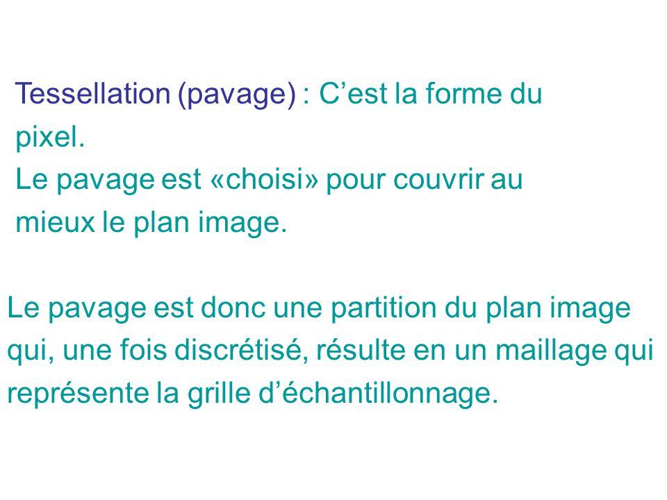 Tessellation (pavage) : Cest la forme du pixel.