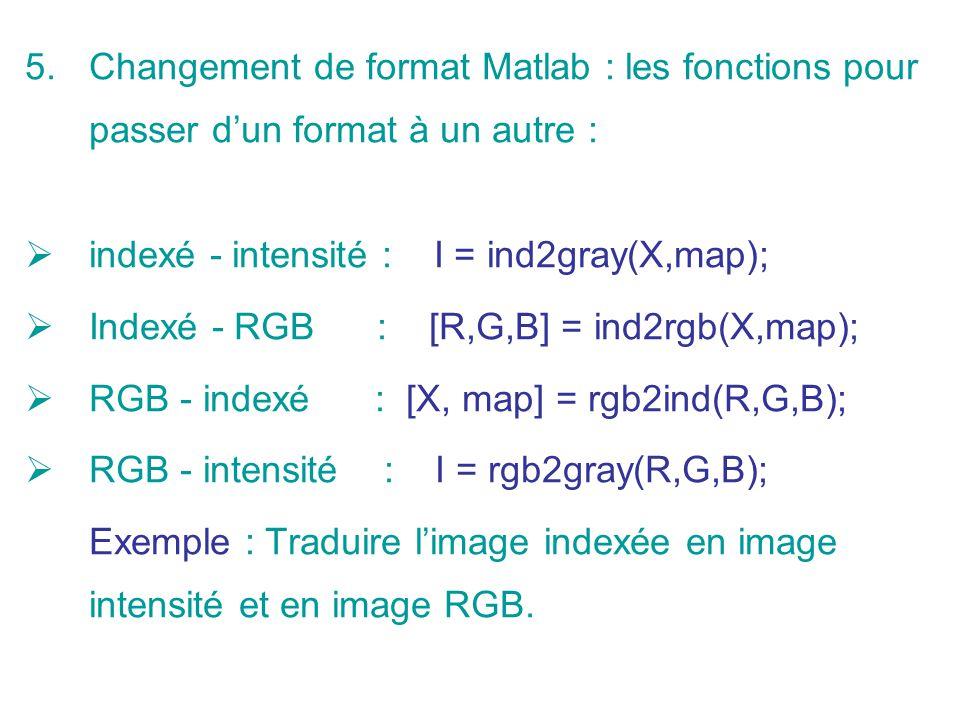 5.Changement de format Matlab : les fonctions pour passer dun format à un autre : indexé - intensité : I = ind2gray(X,map); Indexé - RGB : [R,G,B] = i