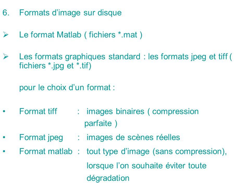 6.Formats dimage sur disque Le format Matlab ( fichiers *.mat ) Les formats graphiques standard : les formats jpeg et tiff ( fichiers *.jpg et *.tif)