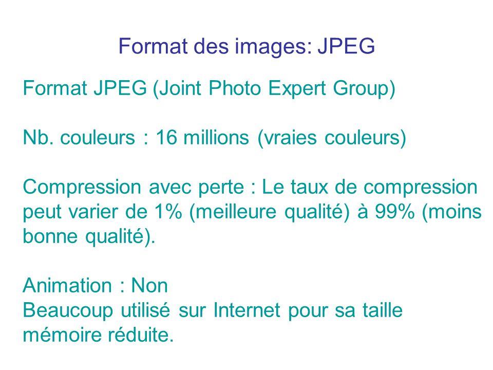 Format des images: JPEG Format JPEG (Joint Photo Expert Group) Nb. couleurs : 16 millions (vraies couleurs) Compression avec perte : Le taux de compre