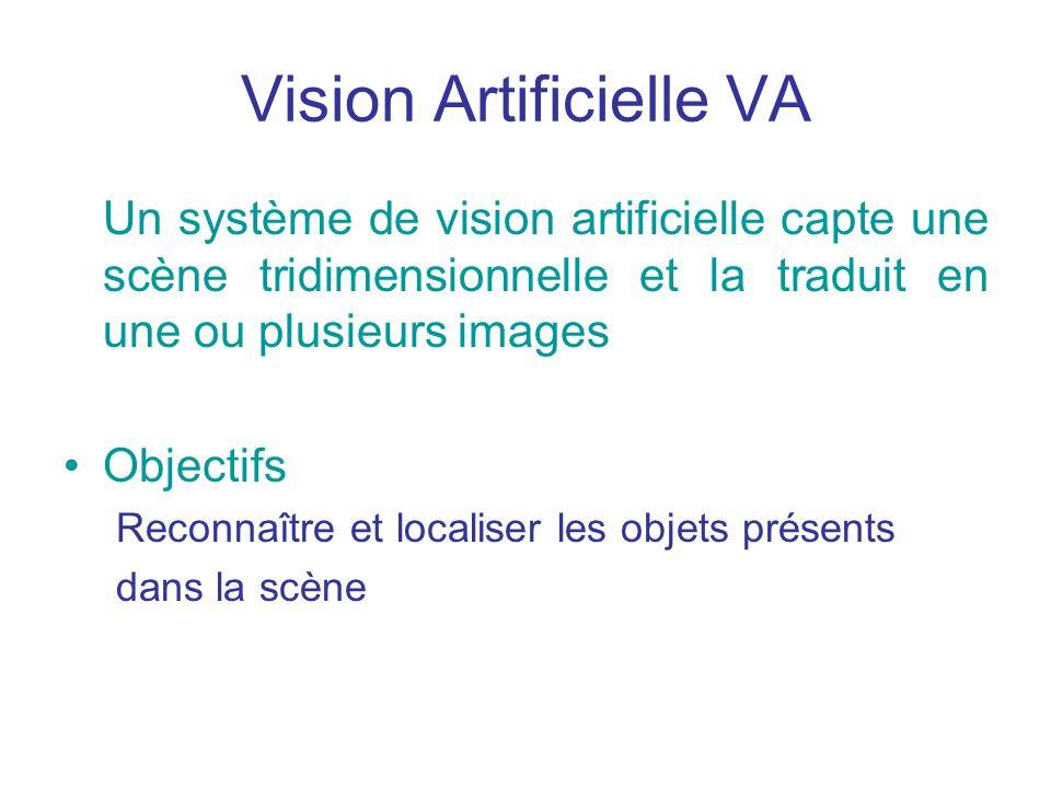 Vision Artificielle VA Un système de vision artificielle capte une scène tridimensionnelle et la traduit en une ou plusieurs images Objectifs Reconnaître et localiser les objets présents dans la scène