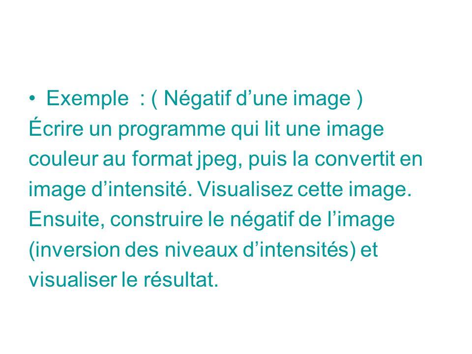 Exemple : ( Négatif dune image ) Écrire un programme qui lit une image couleur au format jpeg, puis la convertit en image dintensité. Visualisez cette