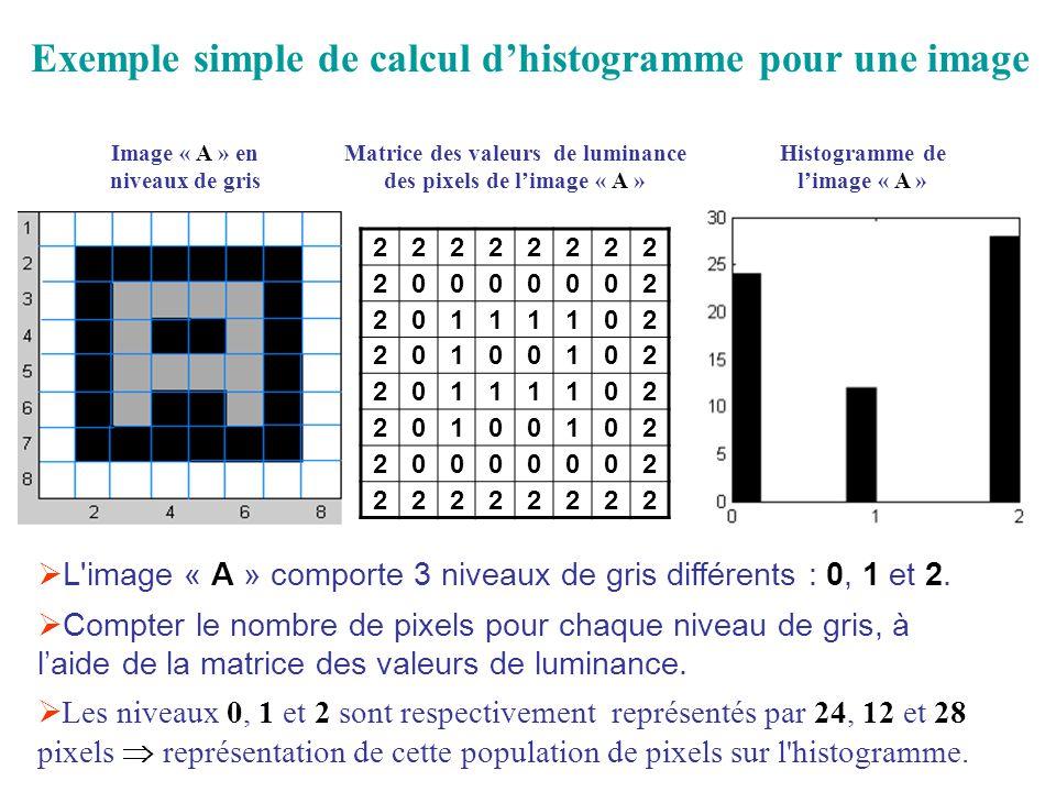Image « A » en niveaux de gris Matrice des valeurs de luminance des pixels de limage « A » Histogramme de limage « A » 22222222 20000002 20111102 20100102 20111102 20100102 20000002 22222222 Les niveaux 0, 1 et 2 sont respectivement représentés par 24, 12 et 28 pixels représentation de cette population de pixels sur l histogramme.