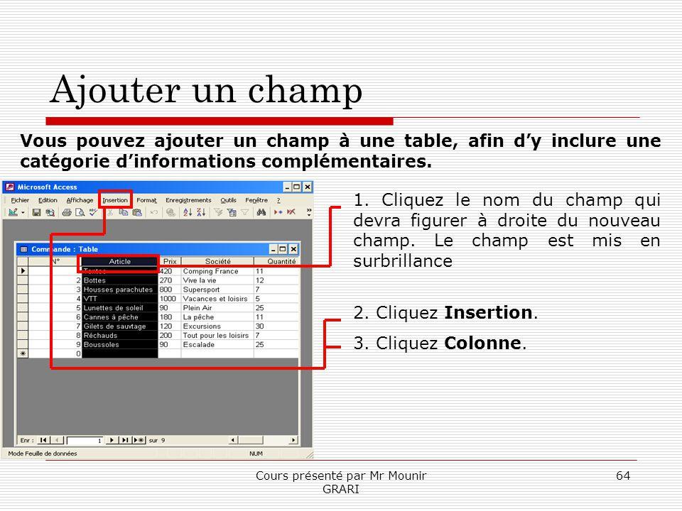 Cours présenté par Mr Mounir GRARI 64 Ajouter un champ Vous pouvez ajouter un champ à une table, afin dy inclure une catégorie dinformations complémen