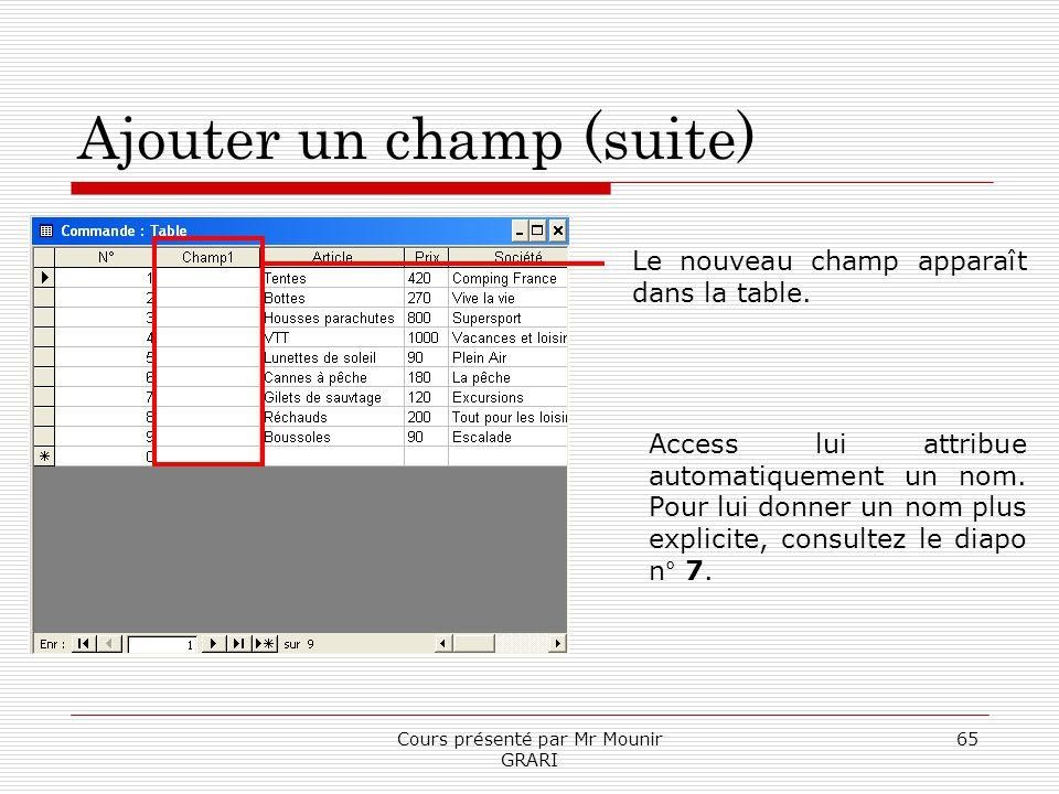 Cours présenté par Mr Mounir GRARI 65 Ajouter un champ (suite) Le nouveau champ apparaît dans la table. Access lui attribue automatiquement un nom. Po