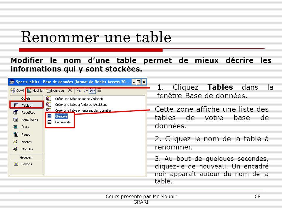Cours présenté par Mr Mounir GRARI 68 Renommer une table Modifier le nom dune table permet de mieux décrire les informations qui y sont stockées. 1. C