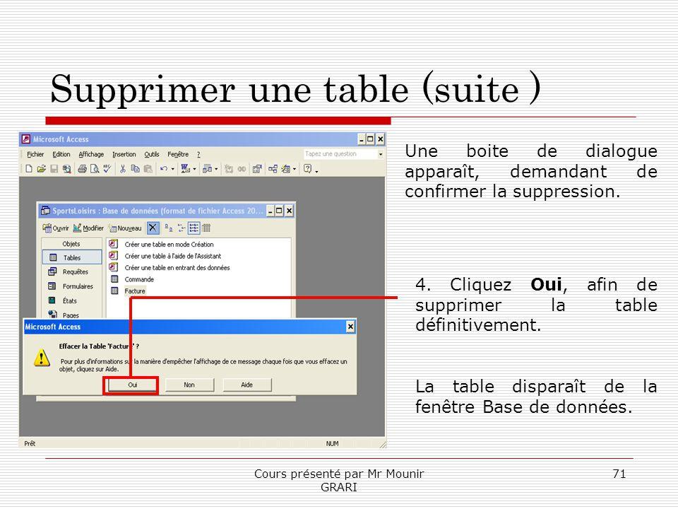 Cours présenté par Mr Mounir GRARI 71 Supprimer une table (suite ) Une boite de dialogue apparaît, demandant de confirmer la suppression. 4. Cliquez O