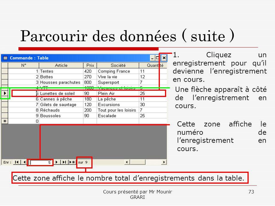 Cours présenté par Mr Mounir GRARI 73 Parcourir des données ( suite ) 1. Cliquez un enregistrement pour quil devienne lenregistrement en cours. Une fl