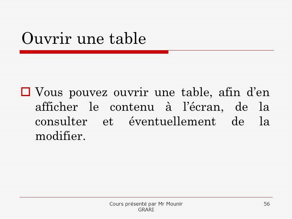 Cours présenté par Mr Mounir GRARI 56 Ouvrir une table Vous pouvez ouvrir une table, afin den afficher le contenu à lécran, de la consulter et éventue