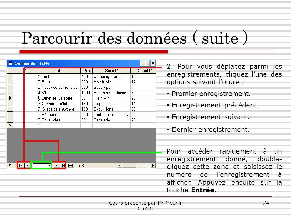 Cours présenté par Mr Mounir GRARI 74 Parcourir des données ( suite ) 2. Pour vous déplacez parmi les enregistrements, cliquez lune des options suivan