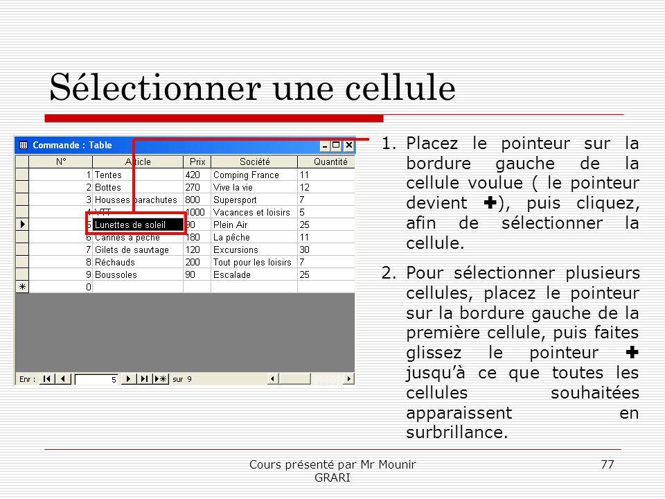 Cours présenté par Mr Mounir GRARI 77 Sélectionner une cellule 1.Placez le pointeur sur la bordure gauche de la cellule voulue ( le pointeur devient )