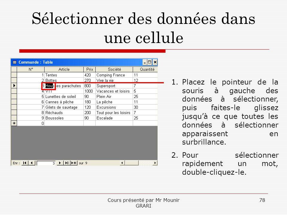 Cours présenté par Mr Mounir GRARI 78 Sélectionner des données dans une cellule 1.Placez le pointeur de la souris à gauche des données à sélectionner,