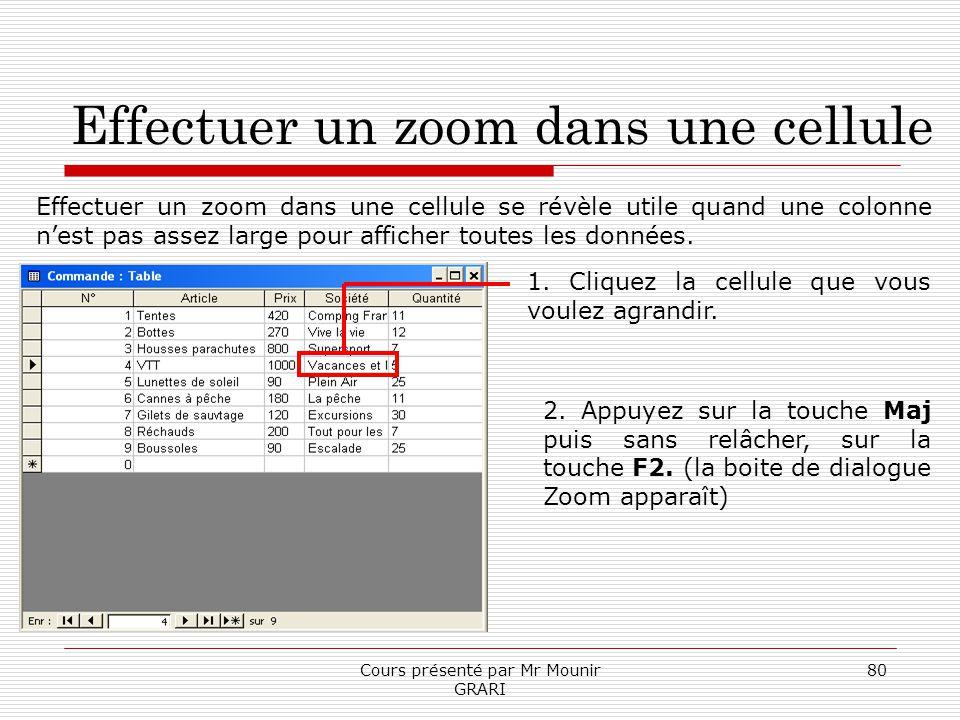 Cours présenté par Mr Mounir GRARI 80 Effectuer un zoom dans une cellule Effectuer un zoom dans une cellule se révèle utile quand une colonne nest pas