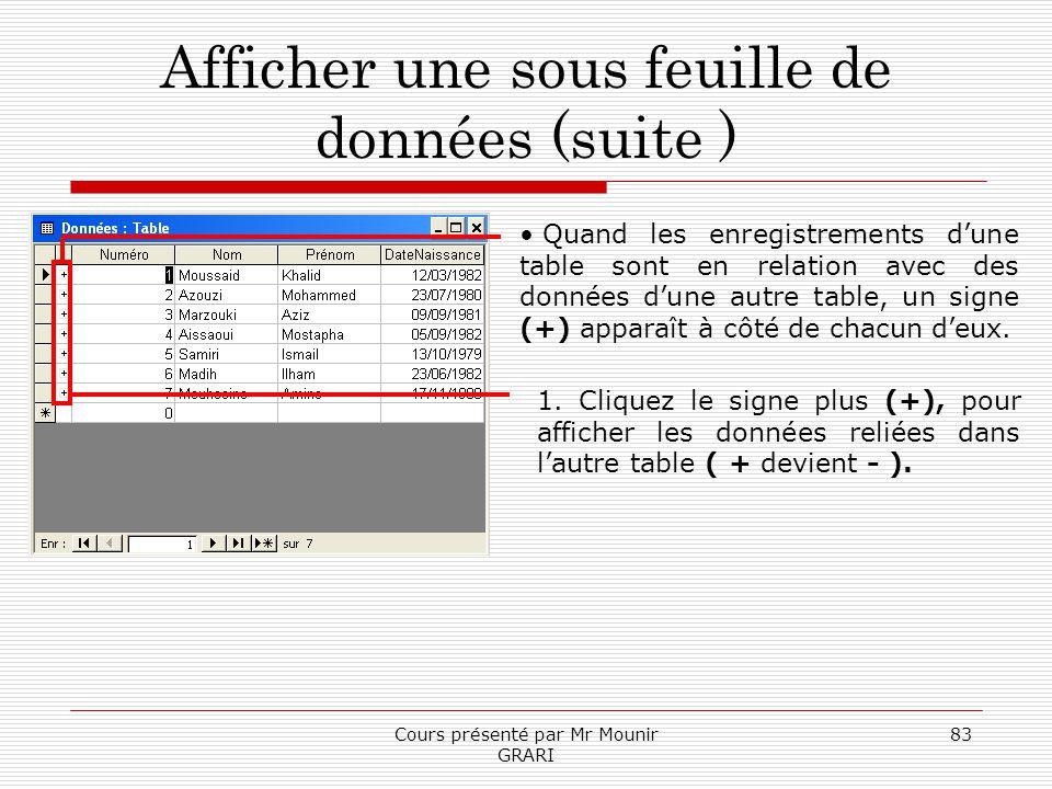 Cours présenté par Mr Mounir GRARI 83 Afficher une sous feuille de données (suite ) Quand les enregistrements dune table sont en relation avec des don