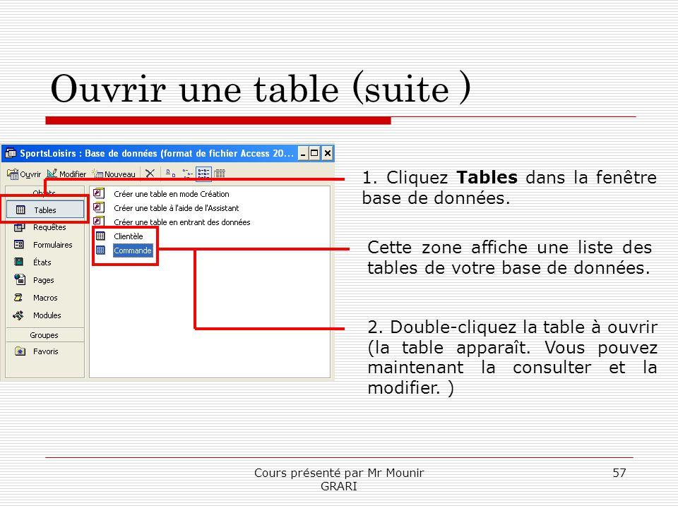 Cours présenté par Mr Mounir GRARI 57 Ouvrir une table (suite ) 1. Cliquez Tables dans la fenêtre base de données. Cette zone affiche une liste des ta