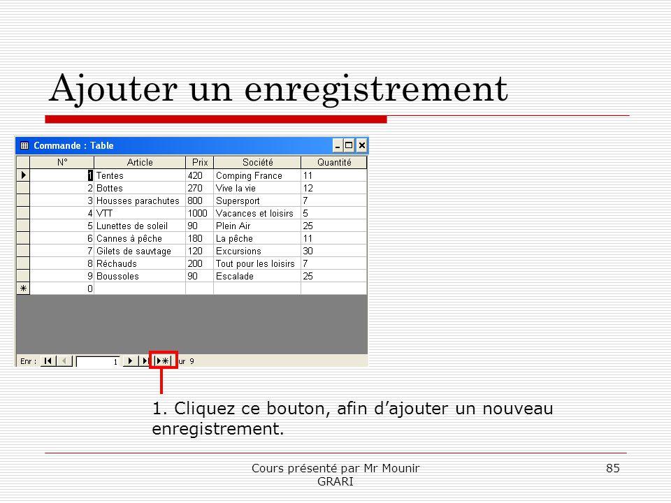 Cours présenté par Mr Mounir GRARI 85 Ajouter un enregistrement 1. Cliquez ce bouton, afin dajouter un nouveau enregistrement.