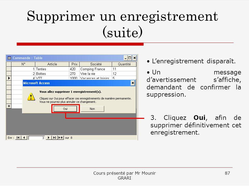 Cours présenté par Mr Mounir GRARI 87 Supprimer un enregistrement (suite) Lenregistrement disparaît. Un message davertissement saffiche, demandant de