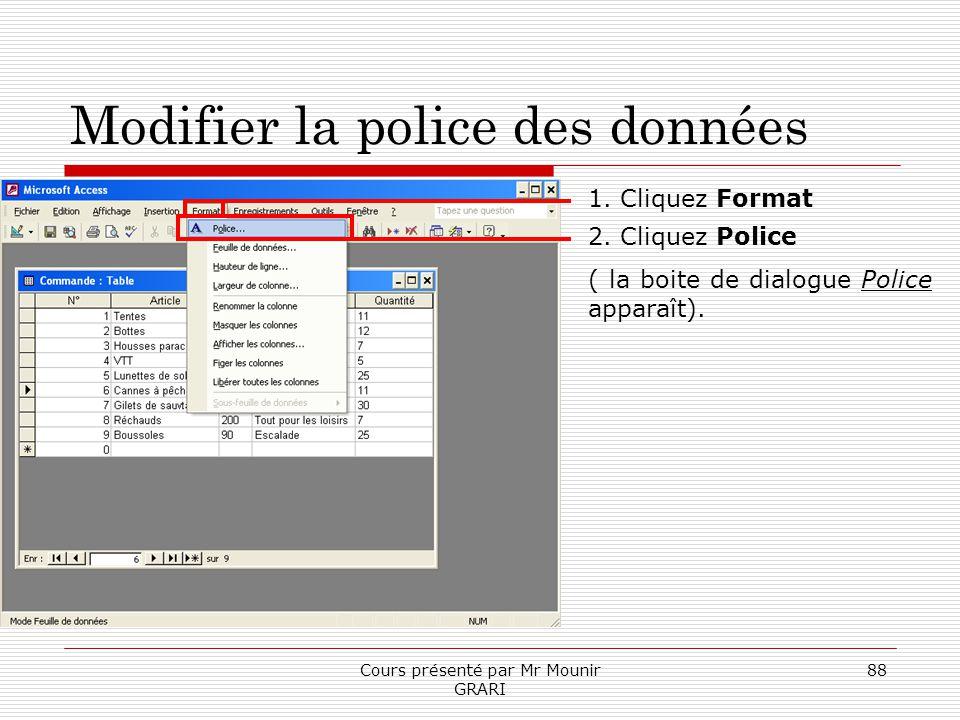 Cours présenté par Mr Mounir GRARI 88 Modifier la police des données 1. Cliquez Format 2. Cliquez Police ( la boite de dialogue Police apparaît).