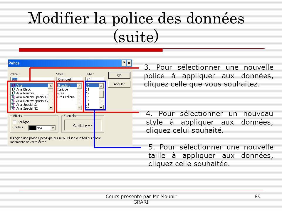 Cours présenté par Mr Mounir GRARI 89 Modifier la police des données (suite) 3. Pour sélectionner une nouvelle police à appliquer aux données, cliquez