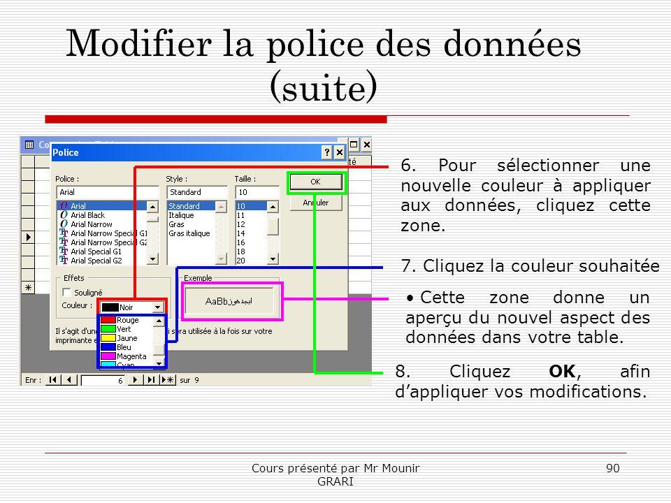 Cours présenté par Mr Mounir GRARI 90 Modifier la police des données (suite) 6. Pour sélectionner une nouvelle couleur à appliquer aux données, clique